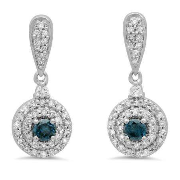 0.50 Carat (ctw) 18K White Gold Round Blue & White Diamond Ladies Halo Style Dangling Drop Earrings 1/2 CT