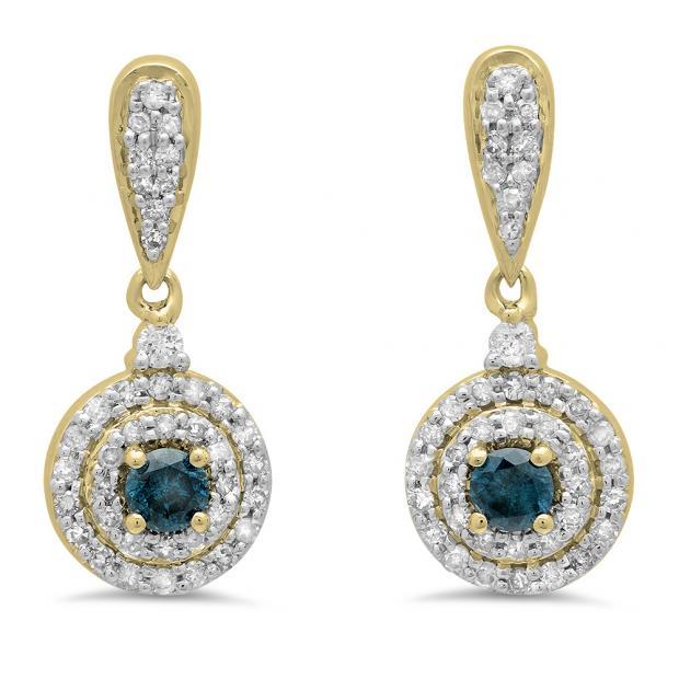 0.50 Carat (ctw) 18K Yellow Gold Round Blue & White Diamond Ladies Halo Style Dangling Drop Earrings 1/2 CT