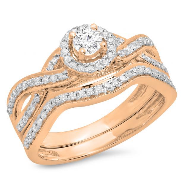 0.60 Carat (ctw) 14K Rose Gold Round White Diamond Ladies Bridal Swirl Halo Style Split Shank Engagement Ring Set