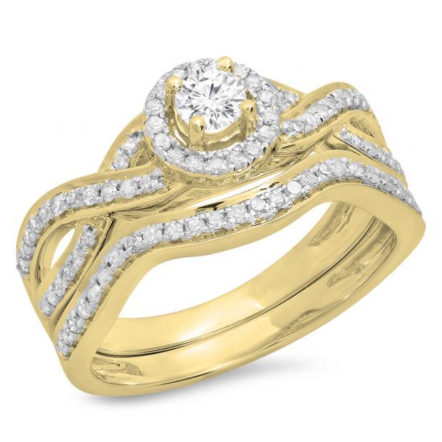 0.60 Carat (ctw) 14K Yellow Gold Round White Diamond Ladies Bridal Swirl Halo Style Split Shank Engagement Ring Set