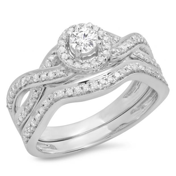 0.60 Carat (ctw) 18K White Gold Round White Diamond Ladies Bridal Swirl Halo Style Split Shank Engagement Ring Set