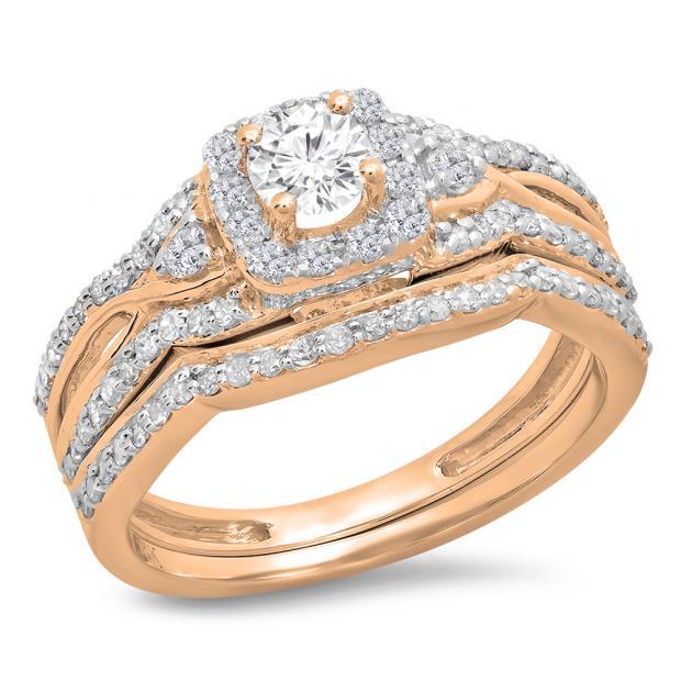 0.95 Carat (ctw) 10K Rose Gold Round White Diamond Ladies Bridal Halo Style Split Shank Engagement Ring Set 1 CT