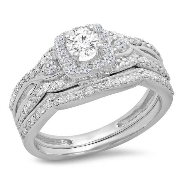 0.95 Carat (ctw) 14K White Gold Round White Diamond Ladies Bridal Halo Style Split Shank Engagement Ring Set 1 CT