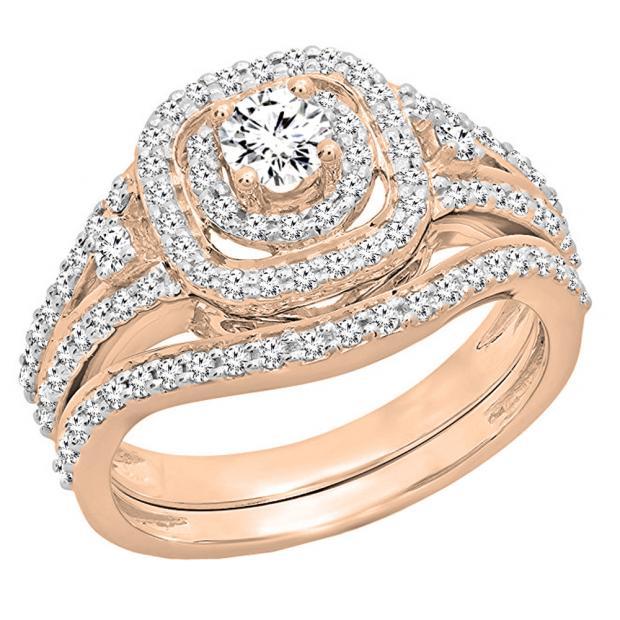 0.90 Carat (ctw) 10K Rose Gold Round White Diamond Ladies Bridal Halo Style Split Shank Engagement Ring Set