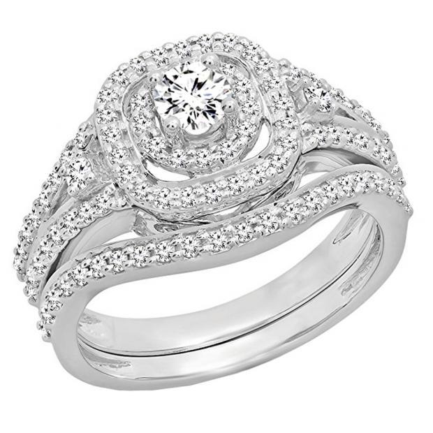 0.90 Carat (ctw) 10K White Gold Round White Diamond Ladies Bridal Halo Style Split Shank Engagement Ring Set