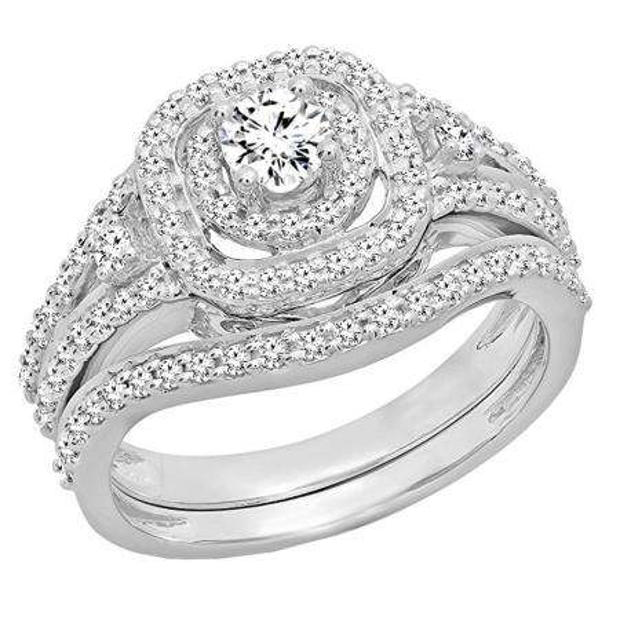 0.90 Carat (ctw) 18K White Gold Round White Diamond Ladies Bridal Halo Style Split Shank Engagement Ring Set