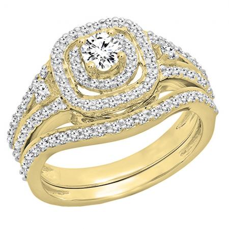 0.90 Carat (ctw) 18K Yellow Gold Round White Diamond Ladies Bridal Halo Style Split Shank Engagement Ring Set