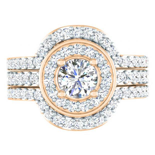1.80 Carat (ctw) 18K Rose Gold Round White Diamond Ladies Bridal Halo Style Engagement Ring Set