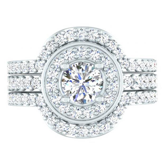 1.80 Carat (ctw) 18K White Gold Round White Diamond Ladies Bridal Halo Style Engagement Ring Set