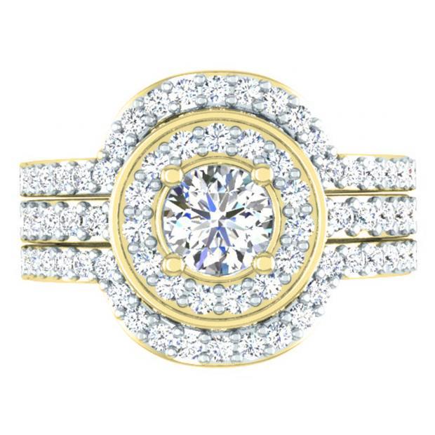 1.80 Carat (ctw) 18K Yellow Gold Round White Diamond Ladies Bridal Halo Style Engagement Ring Set