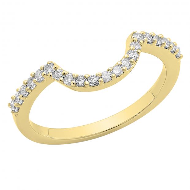 0.30 Carat (ctw) 10K Yellow Gold Round Cut White Diamond Ladies Anniversary Wedding Stackable Band Contour Guard Ring