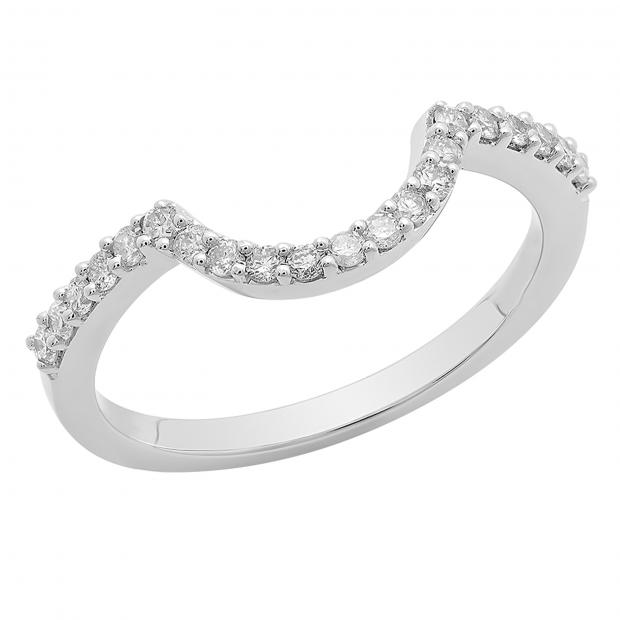 0.30 Carat (ctw) 14K White Gold Round Cut White Diamond Ladies Anniversary Wedding Stackable Band Contour Guard Ring