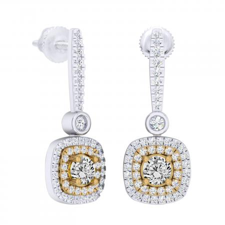 0.90 Carat (ctw) 10K White & Yellow Gold Two Tone Round Yellow & White Diamond Ladies Halo Style Dangling Drop Earrings