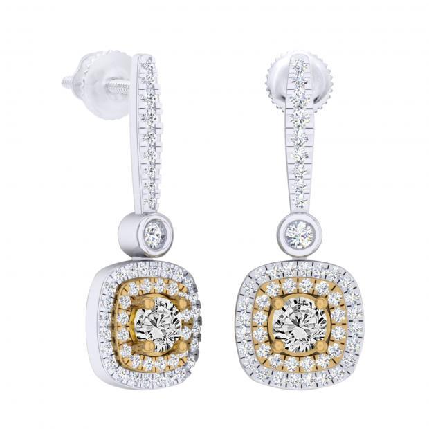 0.90 Carat (ctw) 14K White & Yellow Gold Two Tone Round Yellow & White Diamond Ladies Halo Style Dangling Drop Earrings