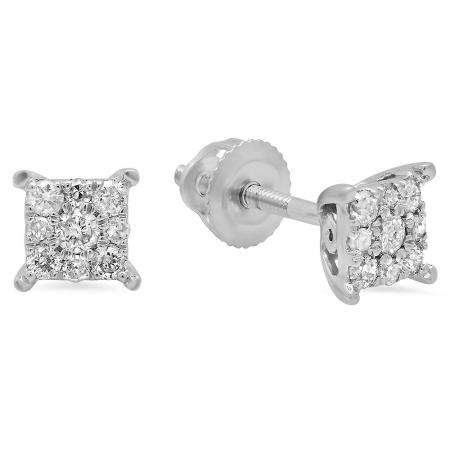 0.25 Carat (ctw) 10K White Gold Round White Diamond Ladies Cluster Stud Earrings 1/4 CT