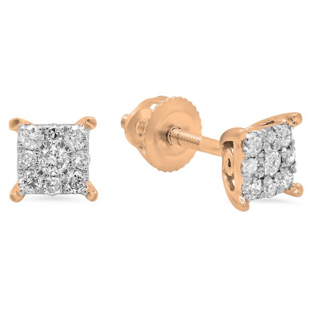 0.25 Carat (ctw) 14K Rose Gold Round White Diamond Ladies Cluster Stud Earrings 1/4 CT