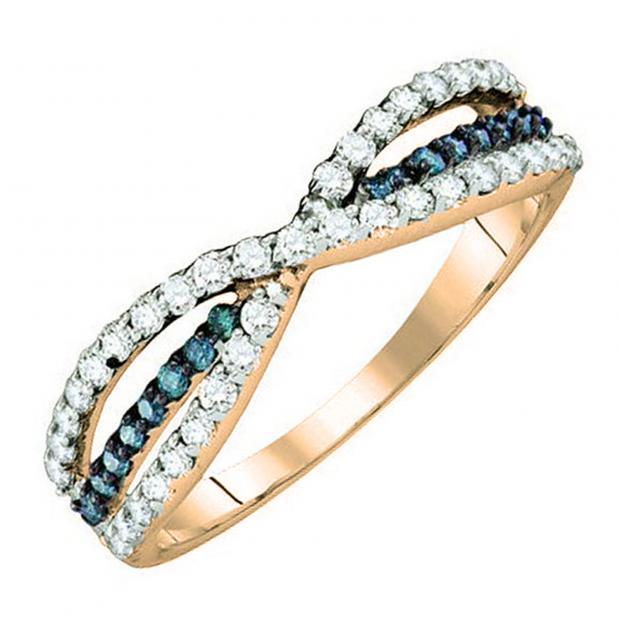 0.40 Carat (ctw) 18K Rose Gold Round White & Blue Diamond Ladies Fashion Anniversary Wedding Band