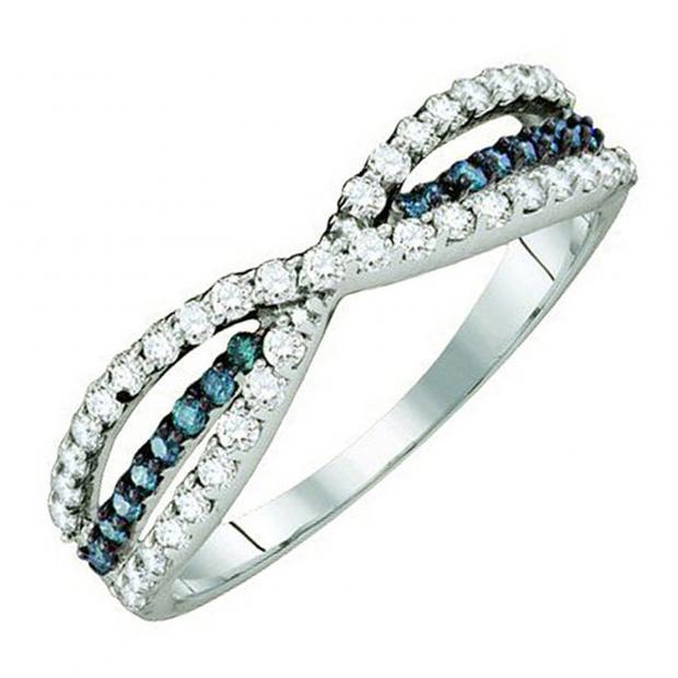 0.40 Carat (ctw) 18K White Gold Round White & Blue Diamond Ladies Fashion Anniversary Wedding Band