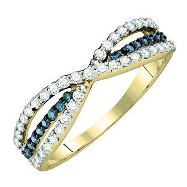 0.40 Carat (ctw) 18K Yellow Gold Round White & Blue Diamond Ladies Fashion Anniversary Wedding Band