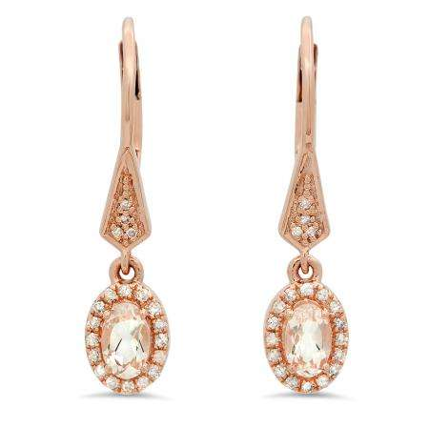 0.60 Carat (ctw) 18K Rose Gold Oval Morganite & Round White Diamond Ladies Halo Style Dangling Drop Earrings