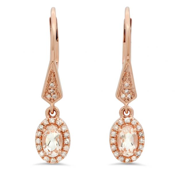 0.60 Carat (ctw) 10K Rose Gold Oval Morganite & Round White Diamond Ladies Halo Style Dangling Drop Earrings