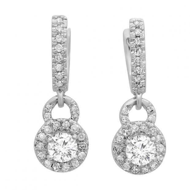 0.45 Carat (ctw) 10K White Gold Round White Diamond Ladies Halo Style Dangling Drop Earrings 1/2 CT