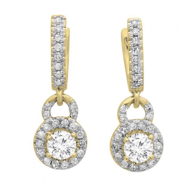0.45 Carat (ctw) 14K Yellow Gold Round White Diamond Ladies Halo Style Dangling Drop Earrings 1/2 CT