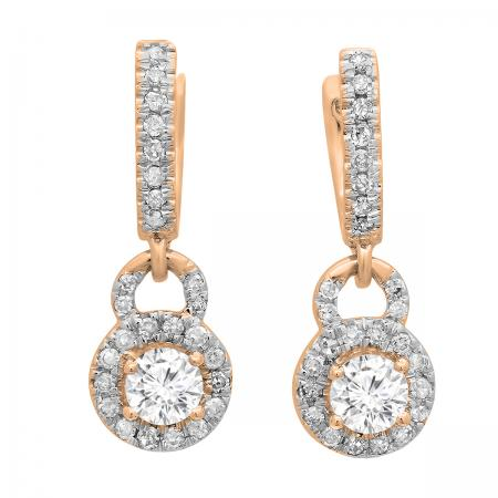 0.45 Carat (ctw) 18K Rose Gold Round White Diamond Ladies Halo Style Dangling Drop Earrings 1/2 CT