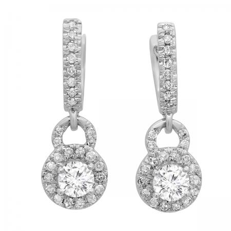 0.45 Carat (ctw) 18K White Gold Round White Diamond Ladies Halo Style Dangling Drop Earrings 1/2 CT