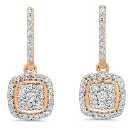 0.40 Carat (ctw) 10K Rose Gold Round White Diamond Ladies Cluster Style Dangling Earrings