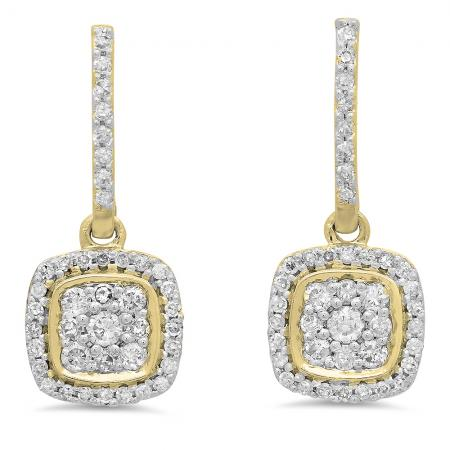 0.40 Carat (ctw) 10K Yellow Gold Round White Diamond Ladies Cluster Style Dangling Earrings