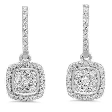 0.40 Carat (ctw) 14K White Gold Round White Diamond Ladies Cluster Style Dangling Earrings