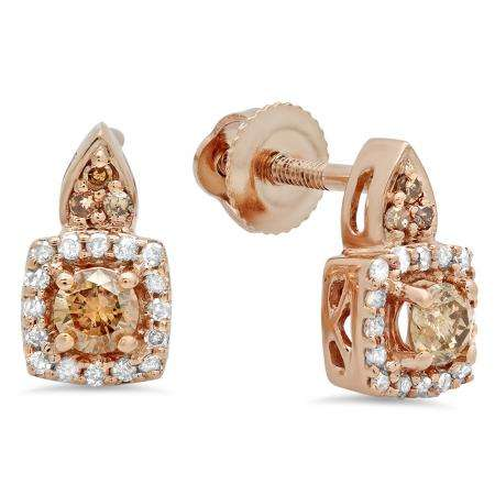 0.30 Carat (ctw) 18K Rose Gold Round Champagne & White Diamond Ladies Halo Style Dangling Earrings 1/3 CT