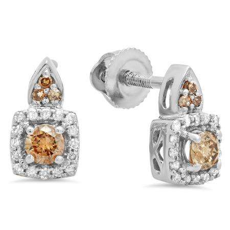 0.30 Carat (ctw) 18K White Gold Round Champagne & White Diamond Ladies Halo Style Dangling Earrings 1/3 CT
