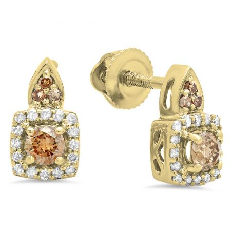 0.30 Carat (ctw) 18K Yellow Gold Round Champagne & White Diamond Ladies Halo Style Dangling Earrings 1/3 CT