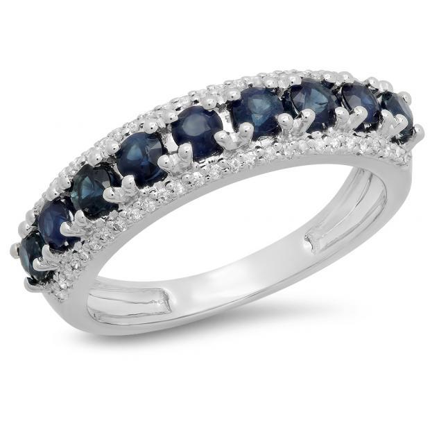1.15 Carat (ctw) 10K White Gold Round Blue Sapphire & White Diamond Ladies Anniversary Wedding Band Stackable Ring