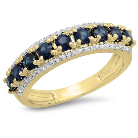 1.15 Carat (ctw) 14K Yellow Gold Round Blue Sapphire & White Diamond Ladies Anniversary Wedding Band Stackable Ring