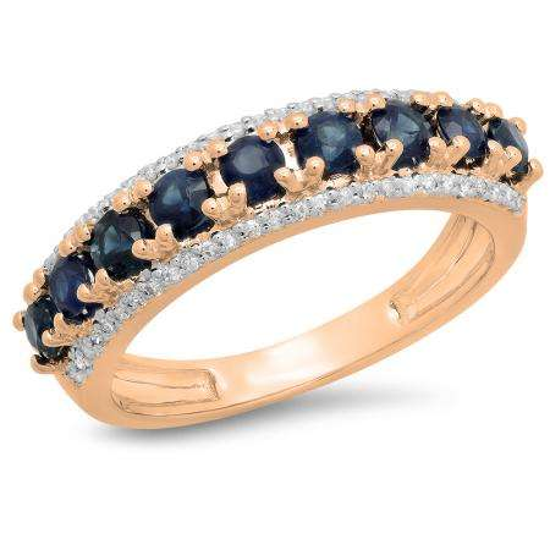 1.15 Carat (ctw) 18K Rose Gold Round Blue Sapphire & White Diamond Ladies Anniversary Wedding Band Stackable Ring