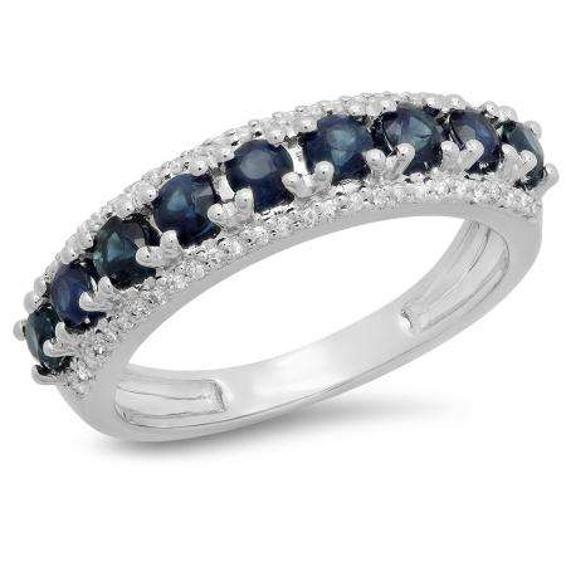 1.15 Carat (ctw) 18K White Gold Round Blue Sapphire & White Diamond Ladies Anniversary Wedding Band Stackable Ring