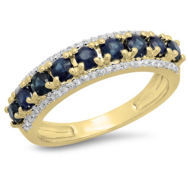 1.15 Carat (ctw) 18K Yellow Gold Round Blue Sapphire & White Diamond Ladies Anniversary Wedding Band Stackable Ring