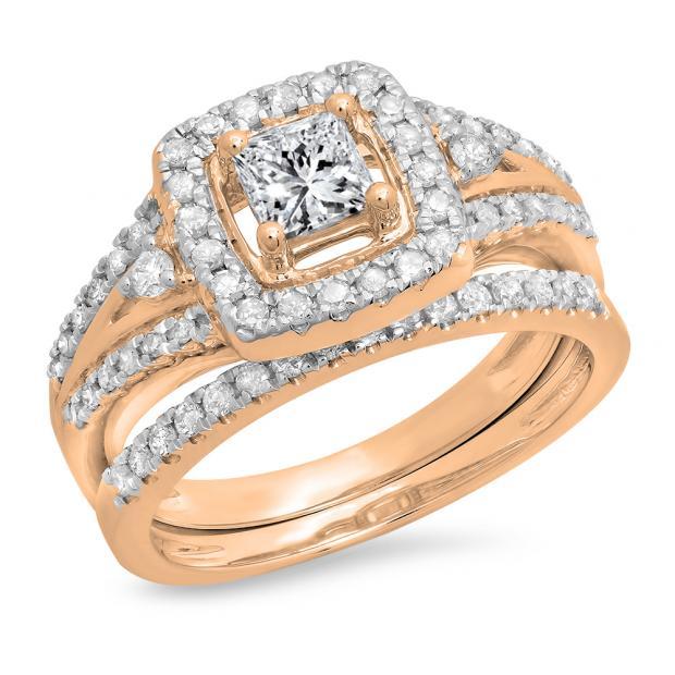 0.95 Carat (ctw) 14K Rose Gold Princess & Round White Diamond Ladies Bridal Halo Style Split Shank Engagement Ring Set 1 CT