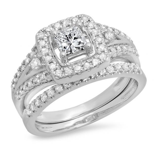 0.95 Carat (ctw) 18K White Gold Princess & Round White Diamond Ladies Bridal Halo Style Split Shank Engagement Ring Set 1 CT
