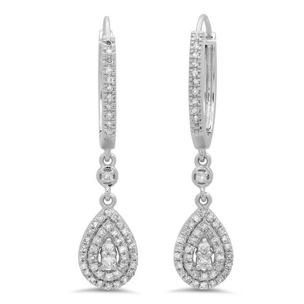 0.50 Carat (ctw) 10K White Gold Round White Diamond Ladies Dangling Drop Earrings 1/2 CT