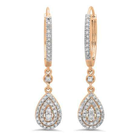 0.50 Carat (ctw) 14K Rose Gold Round White Diamond Ladies Dangling Drop Earrings 1/2 CT