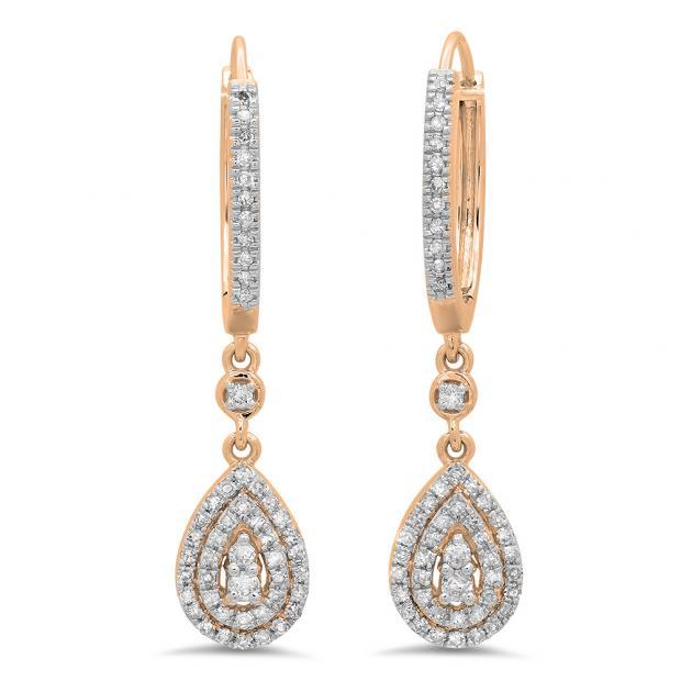 0.50 Carat (ctw) 18K Rose Gold Round White Diamond Ladies Dangling Drop Earrings 1/2 CT