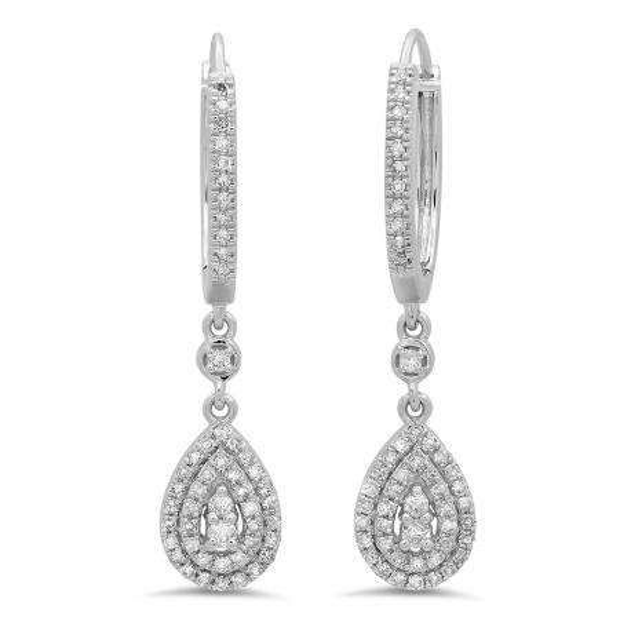 0.50 Carat (ctw) 18K White Gold Round White Diamond Ladies Dangling Drop Earrings 1/2 CT