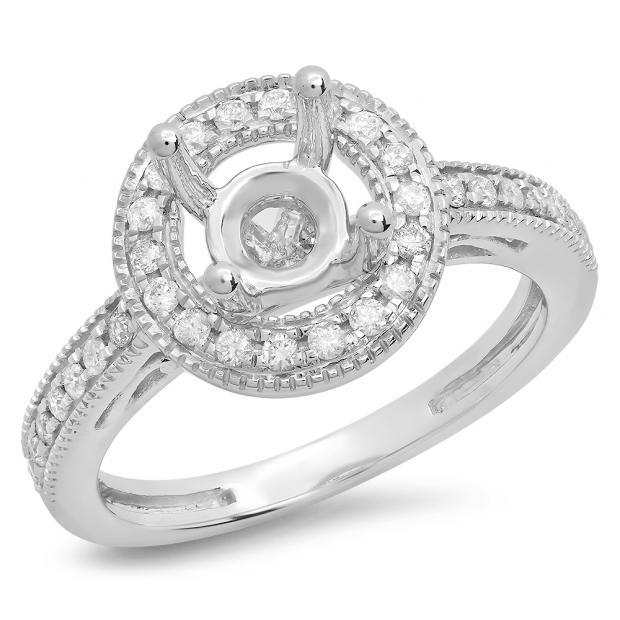 0.35 Carat (ctw) 14K White Gold Round White Diamond Ladies Bridal Semi Mount Engagement Ring 1/3 CT (No Center Stone)