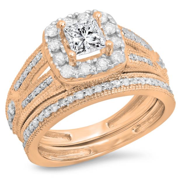 1.30 Carat (ctw) 14K Rose Gold Princess & Round Cut White Diamond Ladies Bridal Halo Style Split Shank Engagement Ring With Matching Band Set