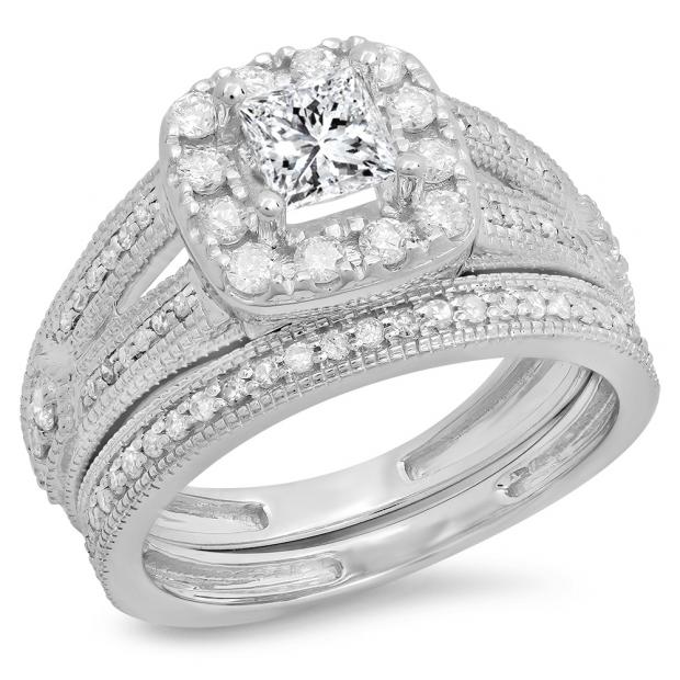 1.30 Carat (ctw) 18K White Gold Princess & Round Cut White Diamond Ladies Bridal Halo Style Split Shank Engagement Ring With Matching Band Set
