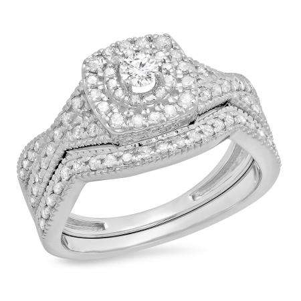 0.60 Carat (ctw) 10K White Gold Round Cut White Diamond Ladies Bridal Swirl Halo Style Split Shank Engagement Ring With Matching Band Set